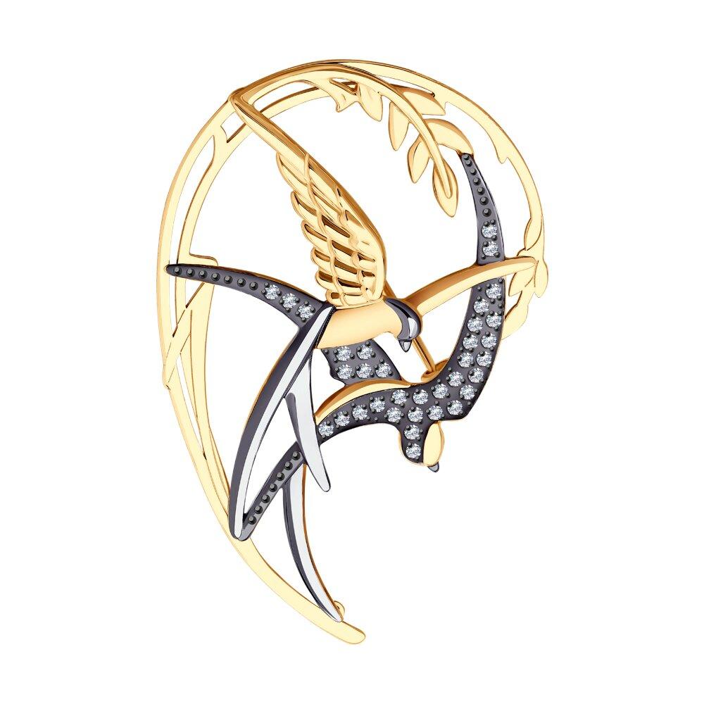 Брошь SOKOLOV из золота с родированием с фианитами брошь паук sokolov из золота с фианитами