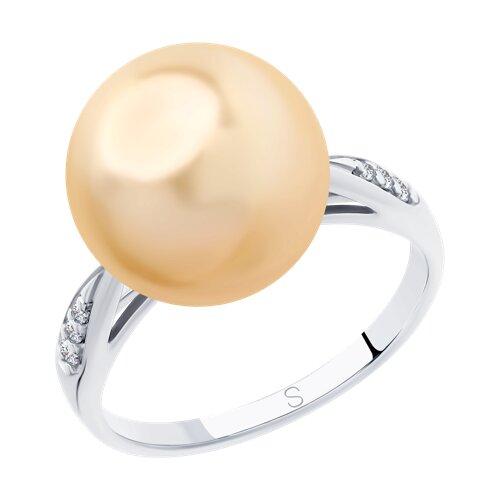 Кольцо из серебра с жемчугом Swarovski и фианитами (94012889) - фото
