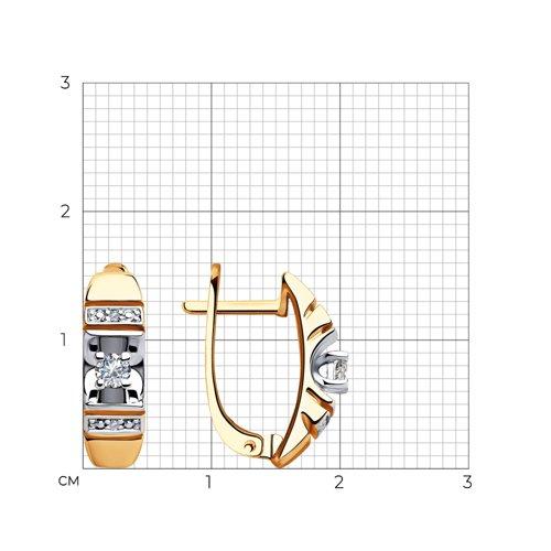 Серьги из комбинированного золота с бриллиантами 1021357 SOKOLOV фото 2