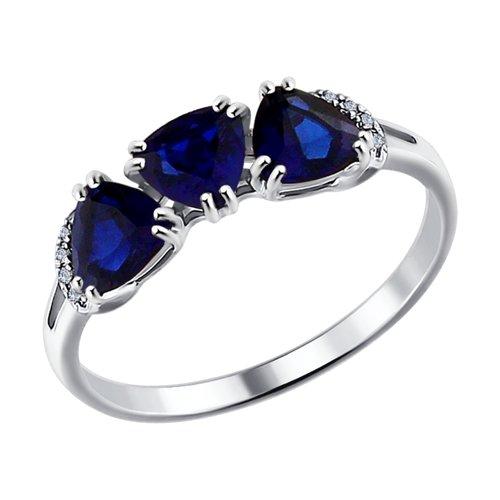 Кольцо из белого золота с бриллиантами и синими корундами (синт.) (6012090) - фото