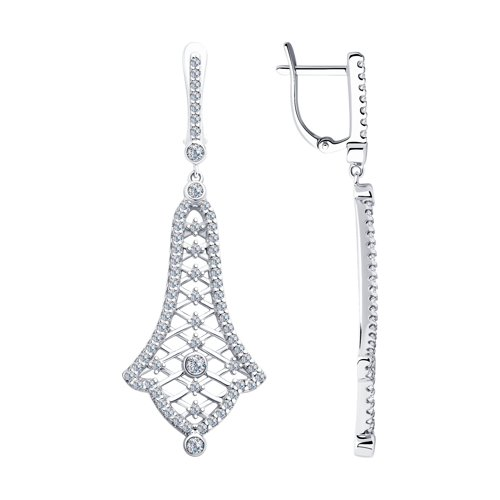 Серьги из серебра с фианитами (94023373) - фото
