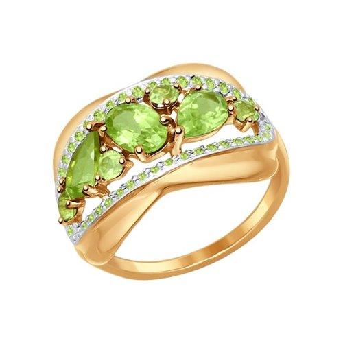 Кольцо из золота с хризолитами и зелеными фианитами