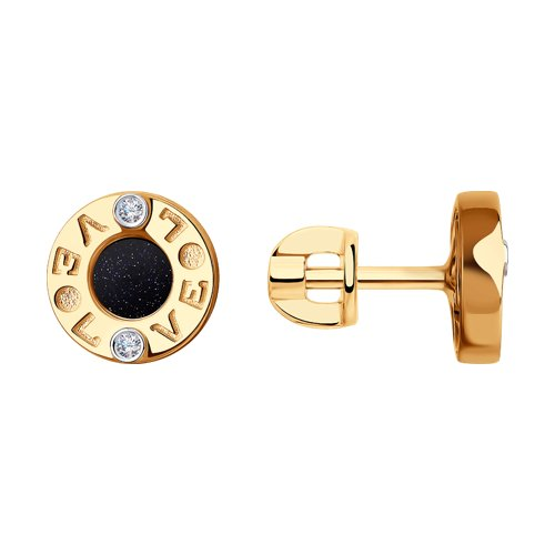 Серьги из золота с бриллиантами и авантюриновым стеклом