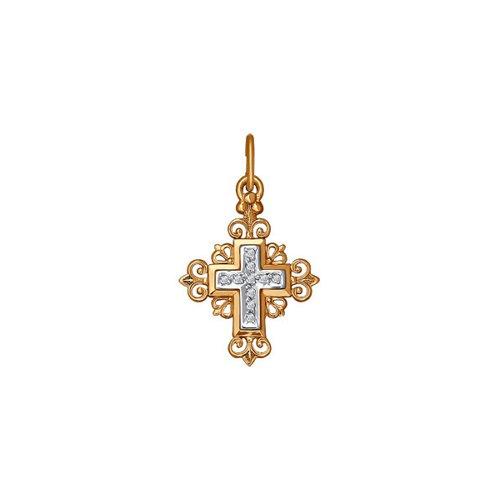 Крест из комбинированного золота с фианитами (120087) - фото