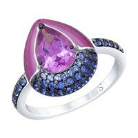 Кольцо из серебра с эмалью и сиреневым ситаллом и фианитами