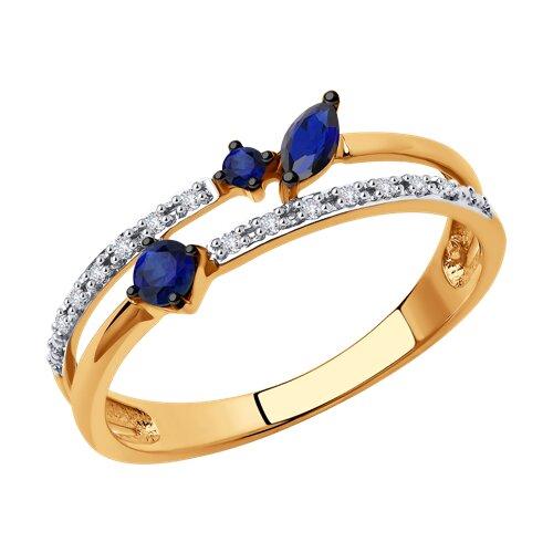 Кольцо из золота с бриллиантами и сапфирами 2011144 SOKOLOV фото