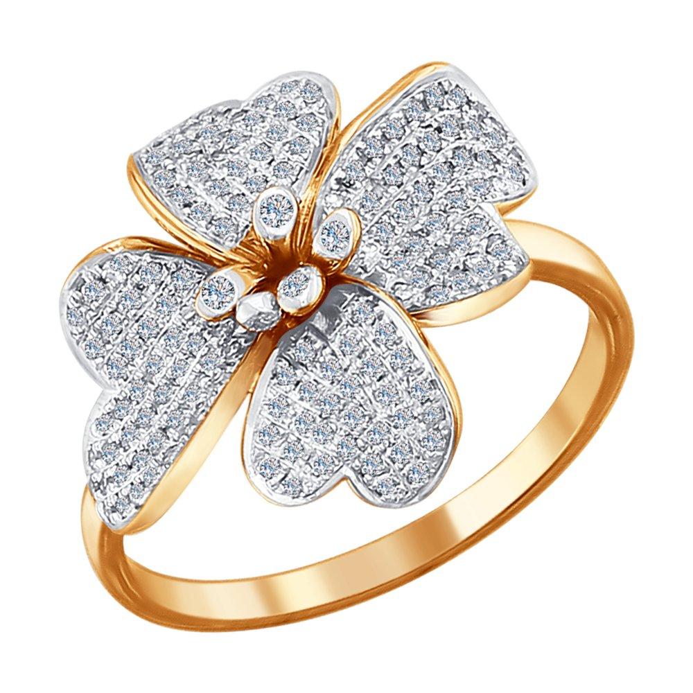 Красивое кольцо в форме цветка с бриллиантами SOKOLOV