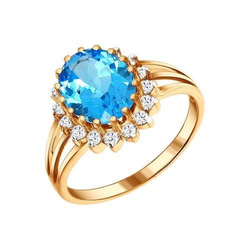 Кольцо золотое с голубым топазом овальной формы и фианитами SOKOLOV золотое кольцо ювелирное изделие k 11013
