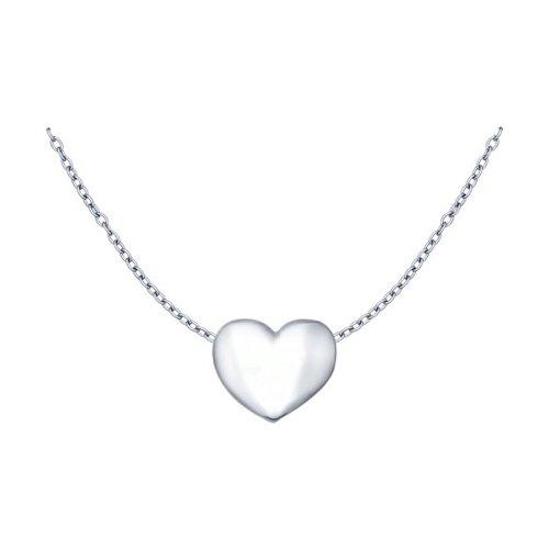 Серебряное колье с сердцем