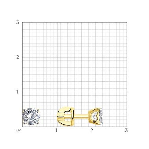 Серьги-пусеты из желтого золота с фианитами (026935-2) - фото №2