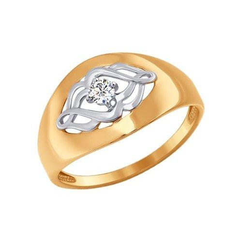 Кольцо из золота с фианитом (017064) - фото