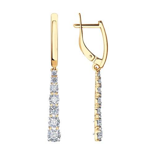 Серьги длинные из золота с фианитами (027490) - фото
