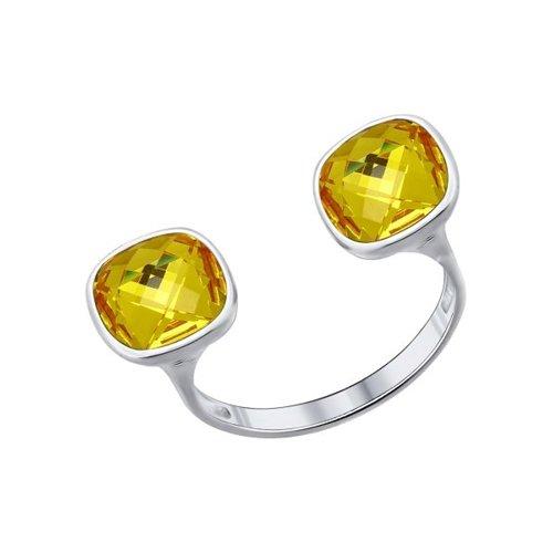 Кольцо из серебра с жёлтыми кристаллами swarovski