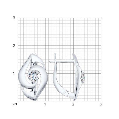 Серьги из серебра с фианитами (94022324) - фото №2