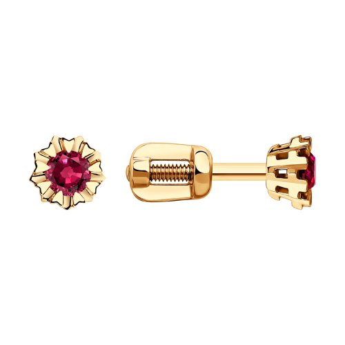 Серьги-пусеты из золота с рубинами (4020200) - фото