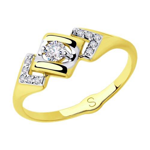 Кольцо из желтого золота с фианитами (018038-2) - фото