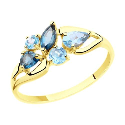 Кольцо из желтого золота с голубыми и синими топазами (715464-2) - фото
