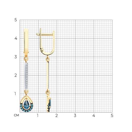 Серьги из золота с синими топазами и фианитами 726103 SOKOLOV фото 2
