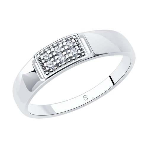 Кольцо из серебра с фианитами (94012314) - фото
