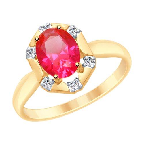 Кольцо из золота с красным корунд (синт.) и фианитами (715294) - фото