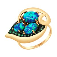 Кольцо из золота с синими опалами и зелеными фианитами