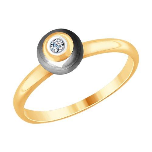 Кольцо из золота с бриллиантом и керамикой (6015072) - фото