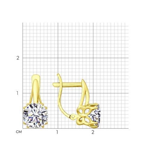 Серьги из желтого золота с фианитами (026725-2) - фото №2
