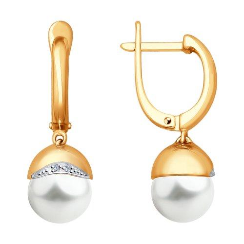 Серьги из золота с бриллиантами и жемчугом (8020071) - фото