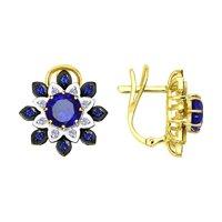 Серьги из желтого золота с бриллиантами и синими корунд (синт.)