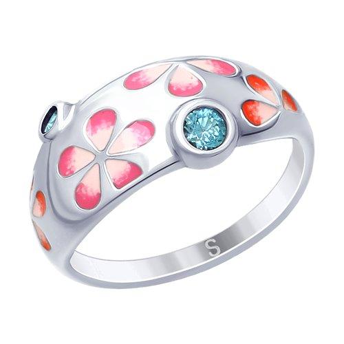 Кольцо из серебра с эмалью и фианитами (94012636) - фото