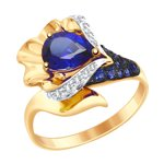 Кольцо из золота с синим корундом (синт.) и бесцветными и синими фианитами