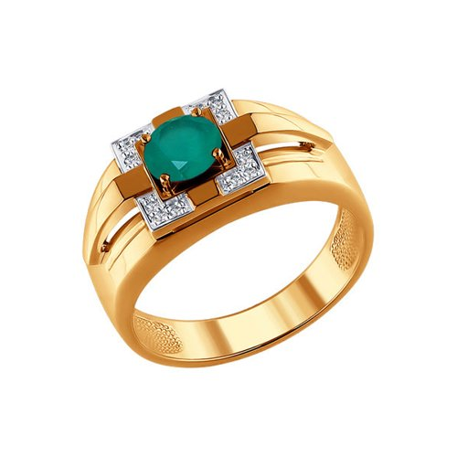 Печатка из золота с бриллиантами и зелёным агатом