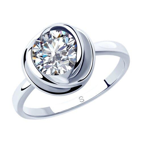 Кольцо из серебра с фианитом (94012821) - фото