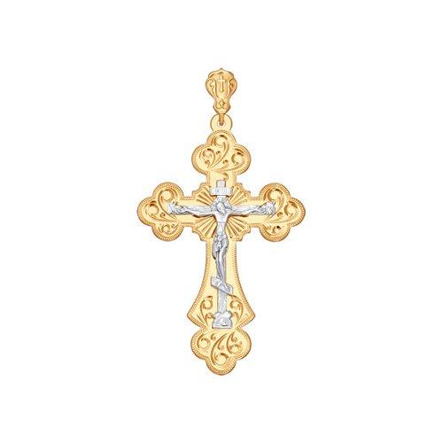 цена Крест SOKOLOV из комбинированного золота с гравировкой онлайн в 2017 году
