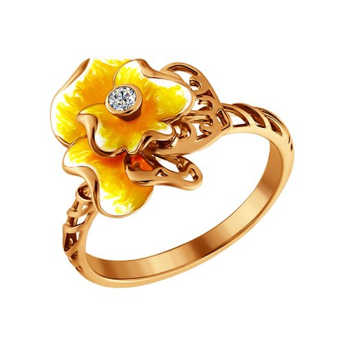Кольцо с цветком SOKOLOV визитница с цветком