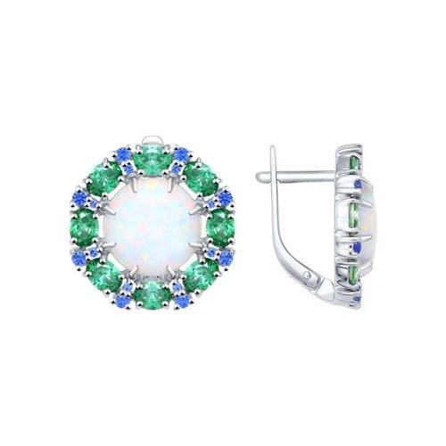 Серьги из серебра с опалами и синими и зелеными фианитами