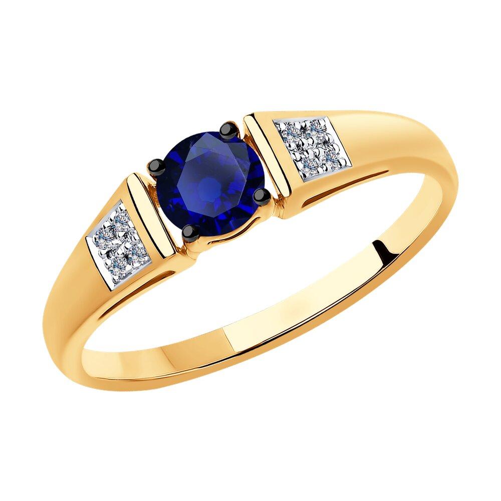 Кольцо SOKOLOV из золота с бриллиантами и синими корундами фото