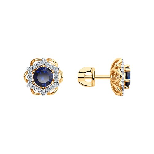 Серьги из золота с синими корунд (синт.) и фианитами (726100) - фото