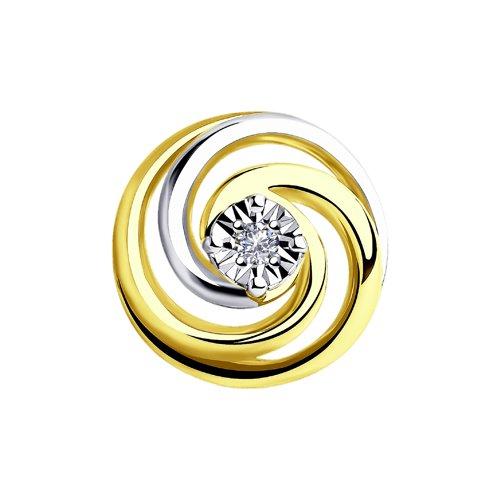 Подвеска из комбинированного золота с бриллиантом (1030745-2) - фото