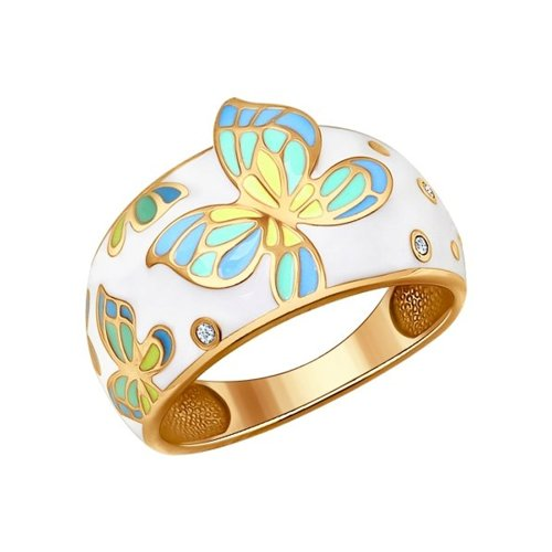 Позолоченное кольцо с бабочкой SOKOLOV