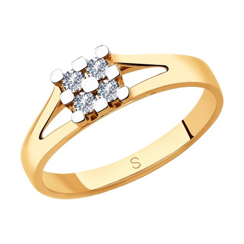 Кольцо из золота с бриллиантами (1011845) - фото