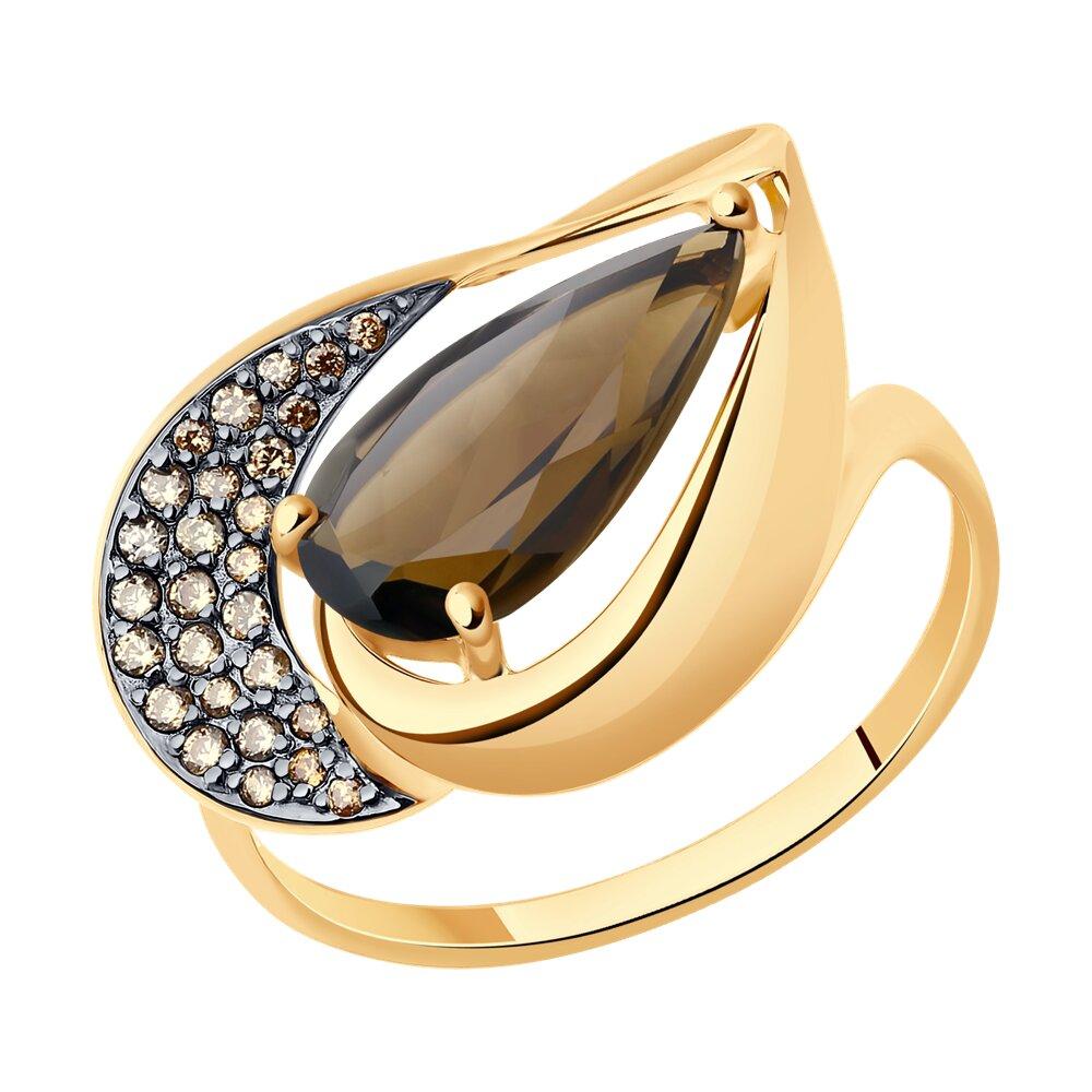 Кольцо SOKOLOV из золота с раухтопазом и жёлтыми фианитами фото