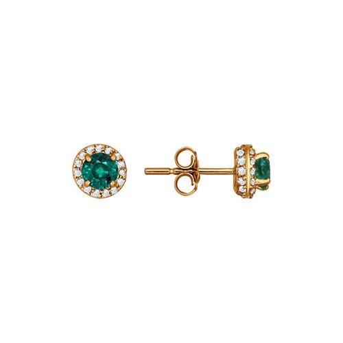 Серьги-пусеты из золота с бриллиантами и изумрудами