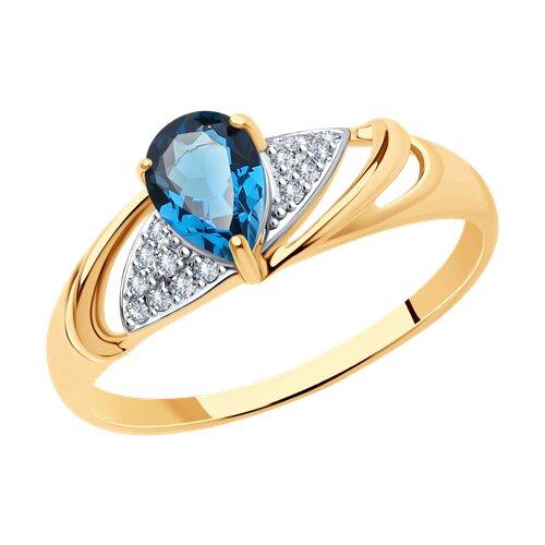 Кольцо из золота с синим топазом и фианитами (715246) - фото