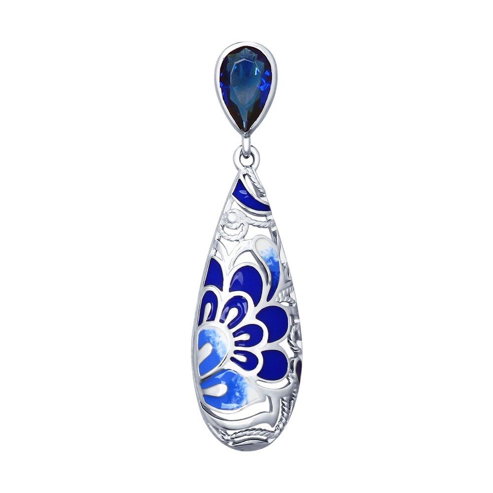 Подвеска SOKOLOV из серебра с синим фианитом брошь sokolov из серебра с синим фианитом