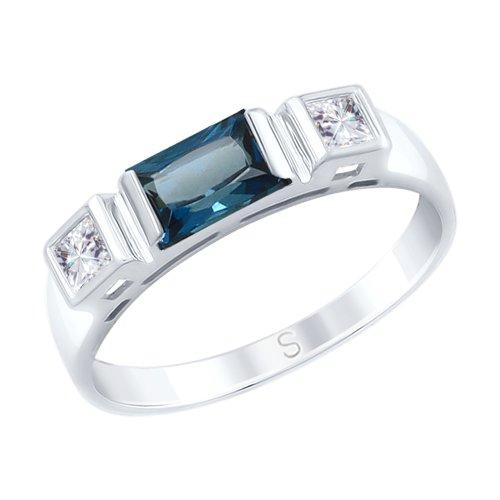 Кольцо из белого золота с синим топазом и Swarovski Zirconia (715095) - фото