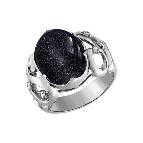 Кольцо SOKOLOV из серебра с авантюрином и фианитами