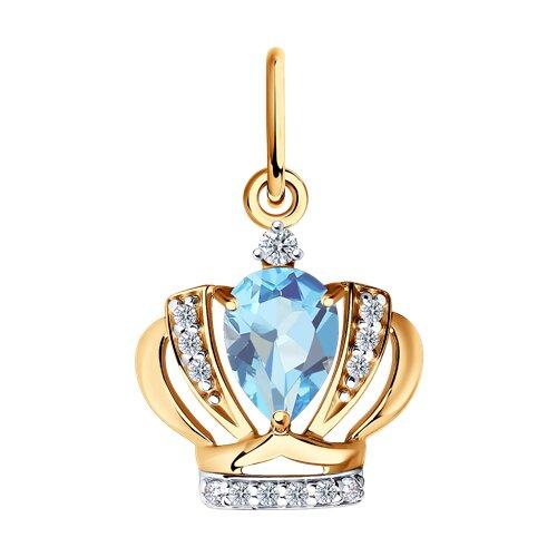 Золотая подвеска «Корона» с голубым топазом и фианитами