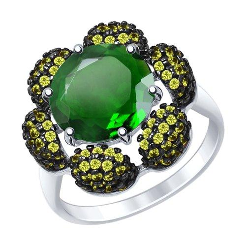 Кольцо из серебра с кварцем и жёлтыми фианитами (92011450) - фото