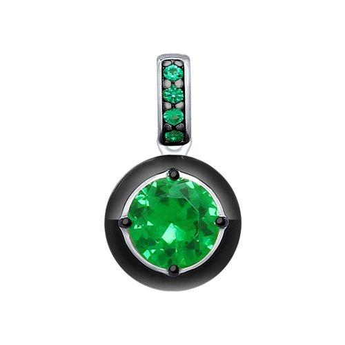 Подвеска из серебра с эмалью и зелёным ситаллом и фианитами